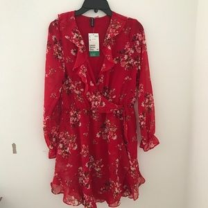 BRAND NEW H&M red floral long sleeve dress
